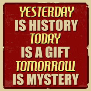 43661375 - yesterday is history today is a gift tomorrow is mystery, vintage grunge poster, vector illustrator