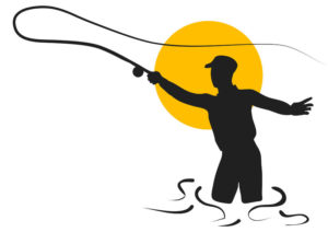 56941050 - fly fishing. silhouette of man isolated on white background