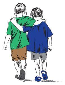 19840900 - friends two boys walking together illustration